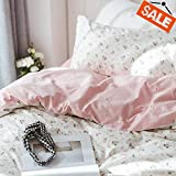 VCLIFE Cotton Children Duvet Cover Sets Queen Floral Bedding Sets White Pink Reversible Flower Plant Pattern Queen 1 Flower Duvet Cover 2 Pillowcases Hotel Quality Breathable Lightweight Durable