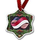 Christmas Ornament Friendship Flags USA and Indonesia - Neonblond