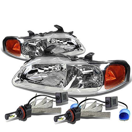 For Nissan Sentra B15 Pair of Chrome Housing Amber Signal Lamp Headlight + 9007 LED Conversion Kit