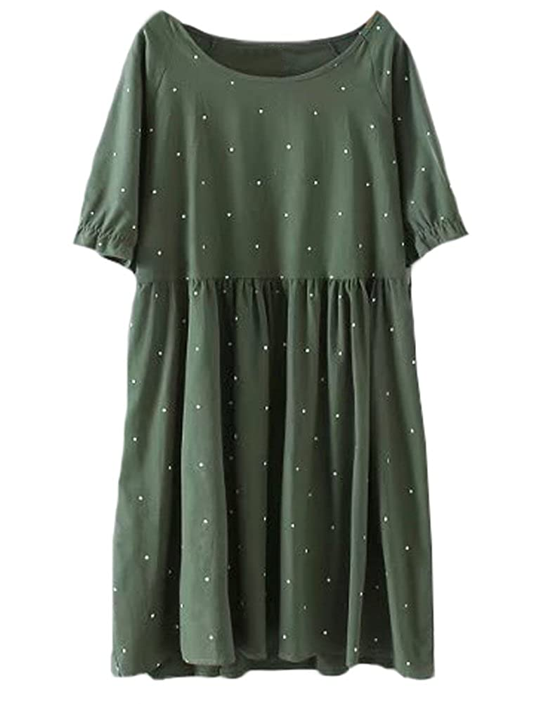 Dark Green Minibee Women's Summer Short Sleeve Ruffle Polka Dot Dress Loose Swing Tunic