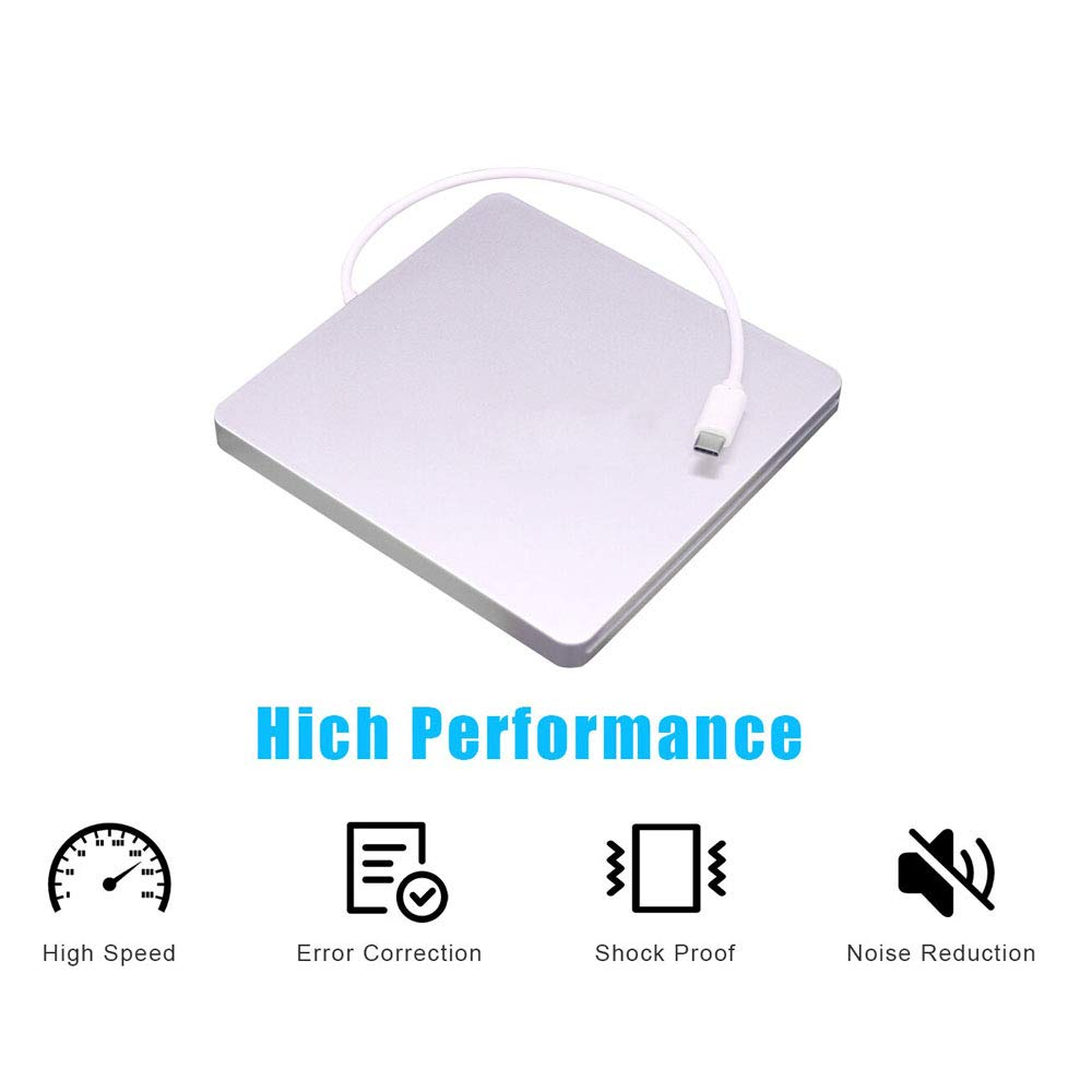 Cisasily External DVD Drive USB-C Ultra Slim Drive CD+/-RW DVD +/-RW Burner Writer Superdrive Compatible with Mac MacBook Pro Air iMac and Laptop(Sliver)
