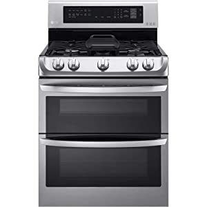 "LG LDG4315ST 30"" Freestanding Double Oven Gas Range with 6.9 cu. ft. Capacity, 5 Burners, Griddle, Probake Convection, Glass Touch Controls and Door Lock, in Stainless Steel"