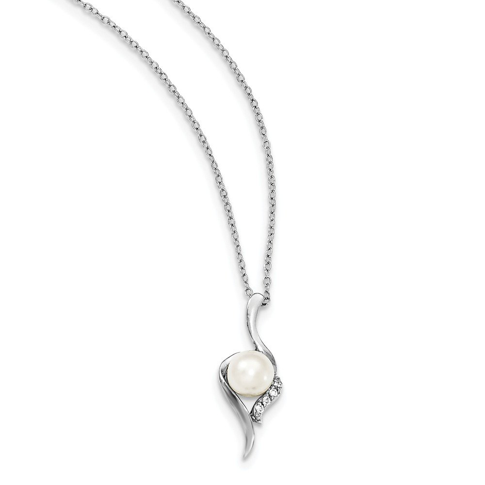 7mm White Fw Cultured Pearl Cubic Zirconia Necklace 17 17in x 1mm Mia Diamonds 925 Sterling Silver Solid