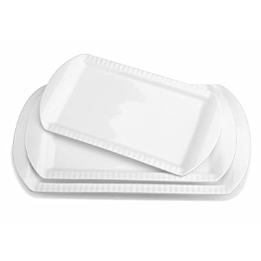Lifver 15-inch Porcelain Embossed Rectangular Platter/Serving Plates With 3 Tier Metal Display Stand, Set of 3, White