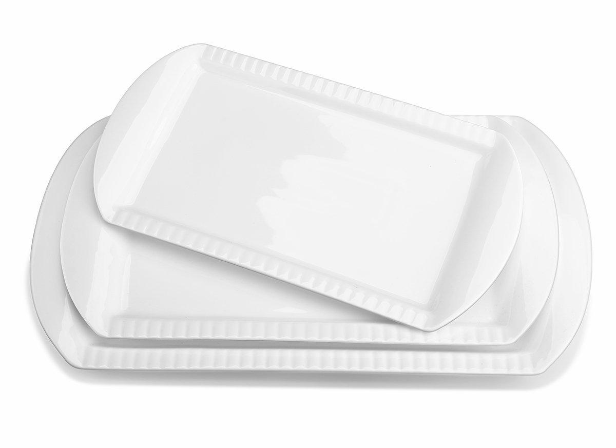 Lifver 15-inch Porcelain Embossed Rectangular Platter/Serving Plates, Set of 3, White