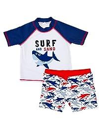 REWANGOING Baby Kids Boys Toddler Two Pieces Cartoon Animal Swimsuit Rashguard Set