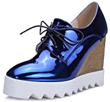 IDIFU Women's Dressy Wedge High Heel Lace up Platform Shoes Sneakers (8 B(M) US, Blue)