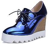 IDIFU Women's Dressy Wedge High Heel Lace up Platform Shoes Sneakers (8 B(M) US, Blue)