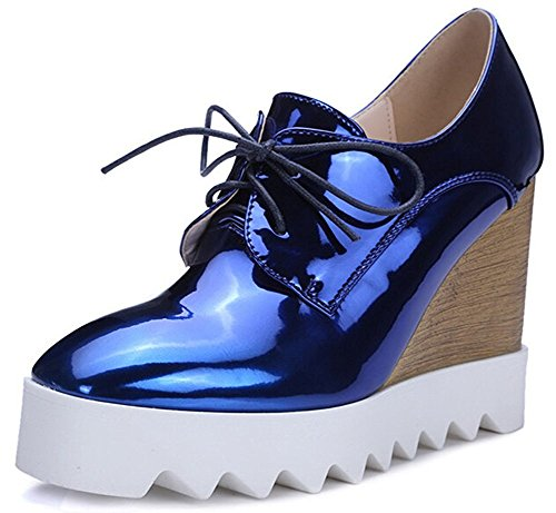 IDIFU Women's Dressy Wedge High Heel Lace up Platform Shoes Sneakers (8 B(M) US, Blue) by IDIFU