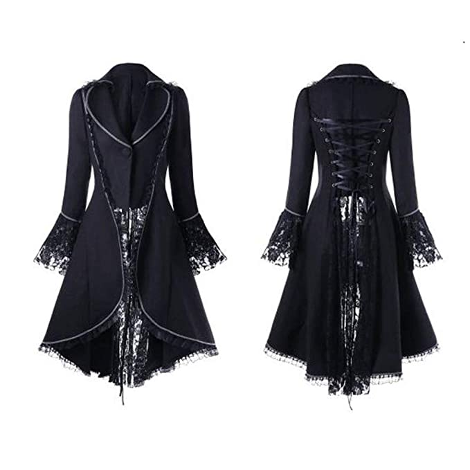❤️Manteau Veste Femme Blouson Amlaiworld Femme Automne Hiver Vintage Punk  Gothique Noble Manteau Mode Chic Boutons Ourlet Asymmetric Classic Machaon  ... b17fd9d3707