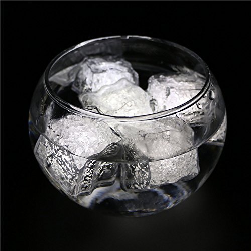 ARDUX 3 Mode Button White LED Ice Cubes, 1.4 inch Waterproof Lighting Flamesless Floating Tealight Decor for Wedding Halloween Party Bar Champagne Wine (Dry Ice Cubes)