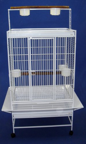 YML 3/4-Inch Bar Spacing Play Top Wrought Iron Parrot Cage, 32-Inch by 23-Inch In White, My Pet Supplies