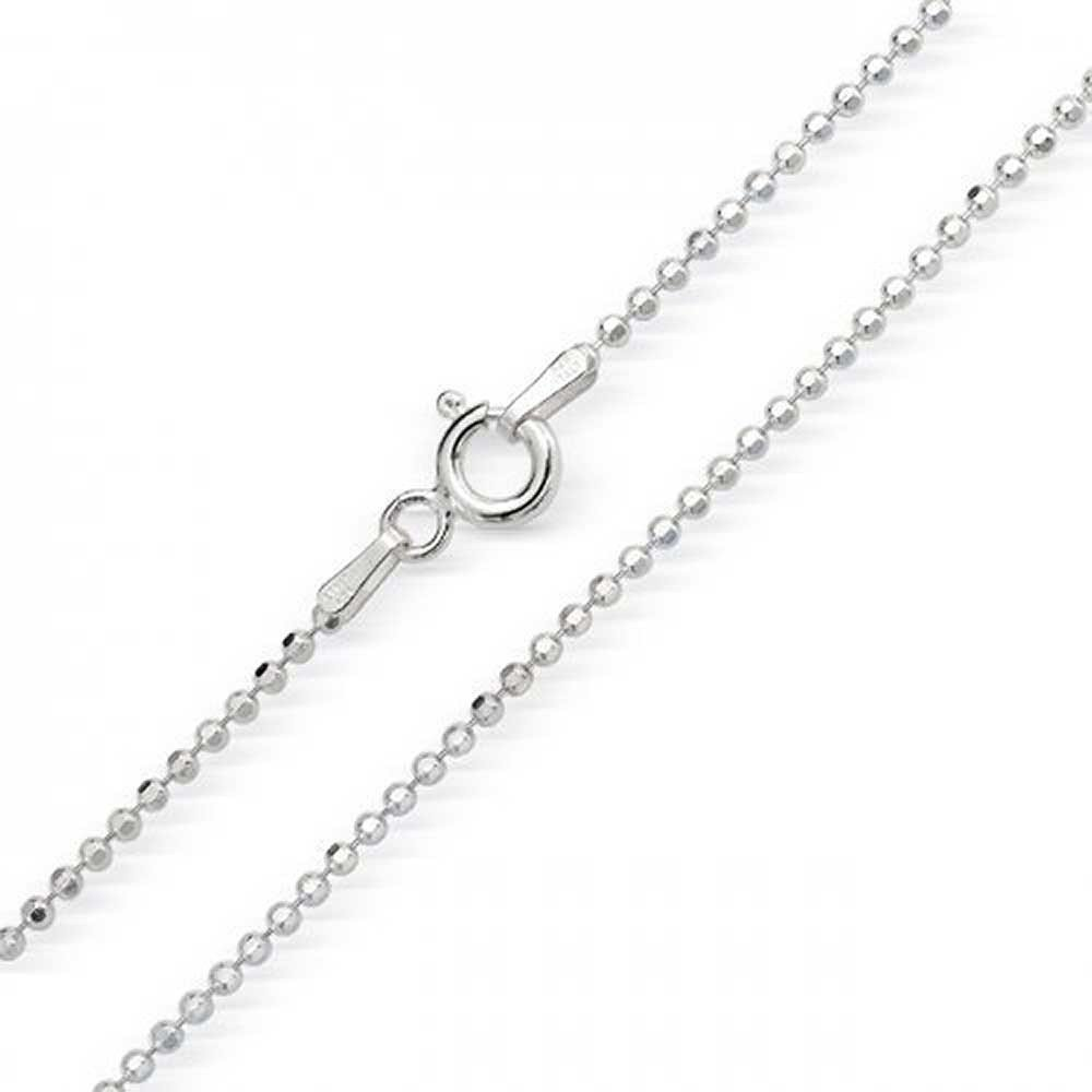 1mm thick solid sterling silver 925 Italian DIAMOND CUT BALL bead link style chain necklace chocker bracelet anklet - 15, 20, 25, 30, 35, 40, 45, 50, 55, 60, 65, 70, 75, 80, 85, 90, 95, 100cm Cozmos Jewelry