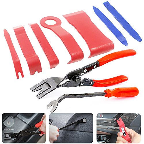 Tool Panel Trim (Anyyion Auto Panels Trim Removal Tool 9Pcs Trim Tool for Door Panel Removal Tools or Auto Upholstery Tools or Clip Plier Set (9 PCS))