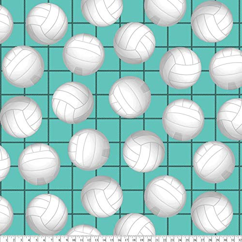 David Textiles Fleece Fabric - 2 Yards (Volleyball Allover in Aqua)