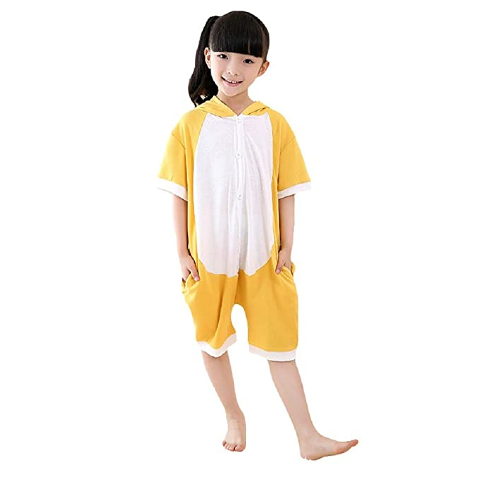 DarkCom Verano Corto Manga Homewear Mameluco Pijama Unisex con Capucha Mono Mono Animal de Dibujos Animados