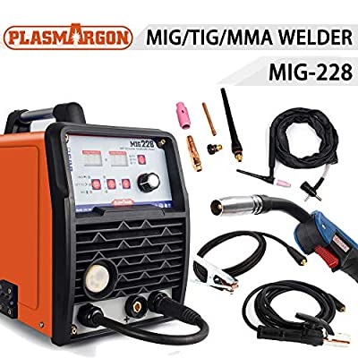TOSENBA MIG/TIG/MMA Welder 3 in 1 Welding Machine 110/220V DC 200Amp Inverter IGBT Digital Display Flux Cored Wire Solid Core Wire Welding Equipment MIG228