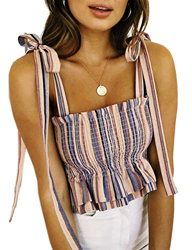 KAMISSY Women's Frill Smocked Crop Tank Top Tie Shoulder Strap Vest (Large, Apricot-Stripe)