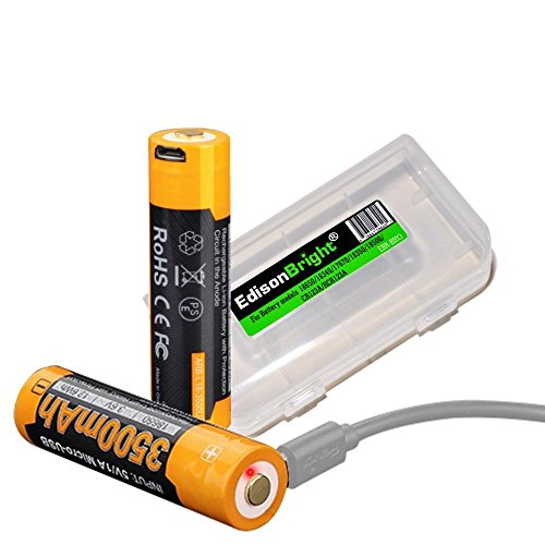 Fenix ARB-L18-3500U direct USB rechargeable 3500mAh 18650 Li-ion (built-in charging circuit) batteries 2 pack with Edisonbright BBX3 battery case