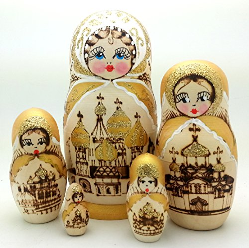 [Russian Church Nesting dolls Wood Burned Hand Carved Hand Painted 5 piece DOLL Set / 6