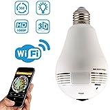 WiFi Light Bulb Security Camera, GERI 960P IP Camera 2 Way Audio Wireless 360-Degree Fisheye Panoramic Network Camera, Indoor Remote Home Surveillance Monitoring Motion Detection