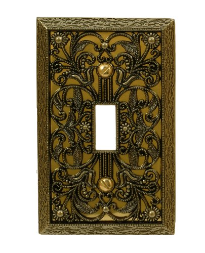 Amerelle Filigree Single Toggle Cast Metal Wallplate in Antique ()