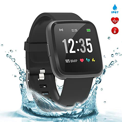 BingoFit Legend Smart Watch Fitness Tracker, Activity Tracker with Blood Pressure Blood Oxygen, Health Tracker Smartwatch with Sleep Monitor Heart Rate Calorie Counter for Women Men Kids(Black) ()