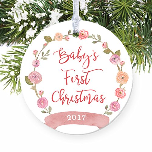 Girl Baby's First Christmas Ornament 2017, Pink Floral Wreath