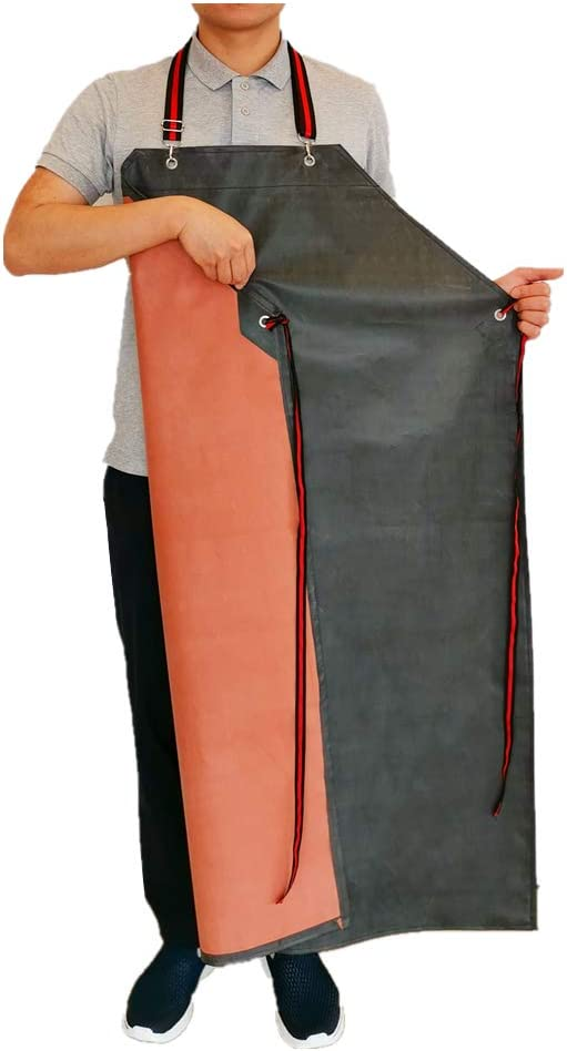 Thick Rubber Apron, 47.2 Inch x 33.5 Inch Waterproof Apron, Long Chemical Resistant Apron, Adjustable Work Aprons for DishWashing, Cleaning Fish, Gardening, Lab Work, Butcher and Dog Grooming, Grey
