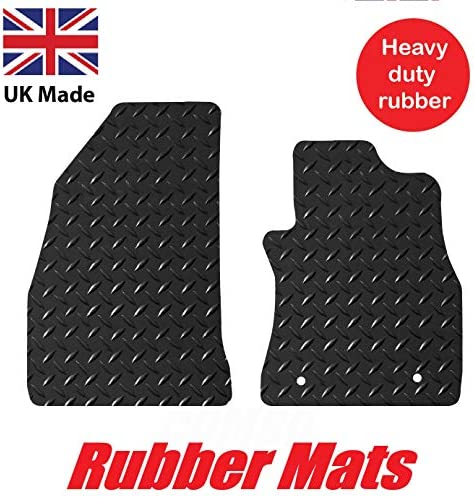 Tailored//Compatible to Fit Vauxhall Combo 2012 to 2018 Lusso Floor Carpet Mats for Car 2 fixing clips Heavy Duty 3mm Rubber Car Mats 2-Piece Set Black Edging