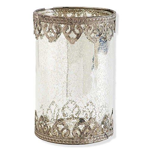 K&K Interiors Large Mercury Glass with Metal Filigree Trim , Large (Mercury Glass Candle Holder)