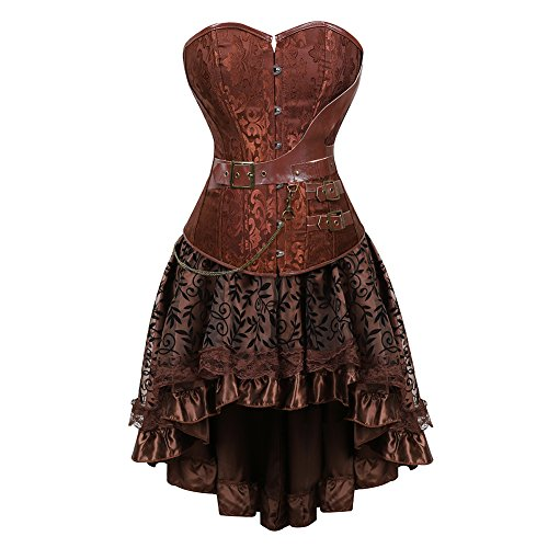 frawirshau Women's Steampunk Costume Corset Dress Halloween Costumes Steam Punk Gothic Overbust Corset and Skirt Set Brown 3XL -