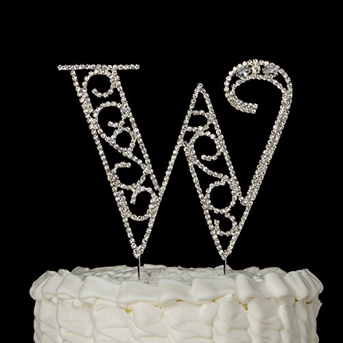 Monogram Letter W Initial Wedding Cake Topper, Rhinestone Silver Metal Decoration (W)