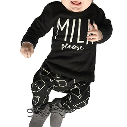 Baby Boys Milk Printed Long Sleeve Top T Shirt Elastic Waist Long Pants 2 PCS Outfits
