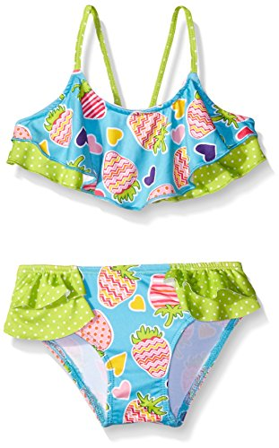 Pink Platinum Girls' Flounce Top Bikini Swimsuit