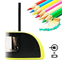 Bostom Electric Pencil Sharpener Adapters and Battery Operated with 2 Different Sizes of Holes, Automatic Electronic Sharpener Including Replacement Blades for Kids