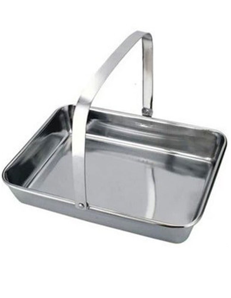 iecool Thick Stainless Steel Flat Bottom Square Tray Silver 2520cm