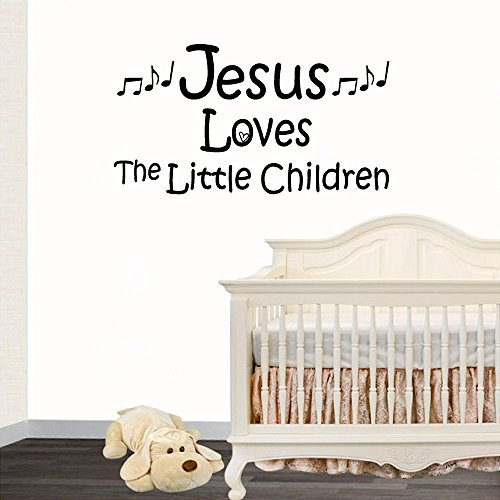 "Jeyfel Decals: Vinyl Wall Decor Decal Sticker. Christian. Jesus Loves the Little Children. (22""W x 12""H)"