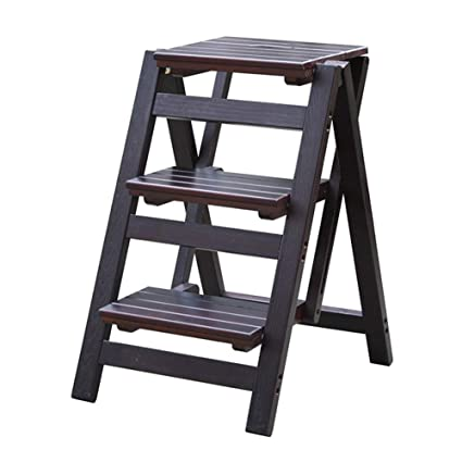 Miraculous Amazon Com Nshun Folding Step Stool 3 Tier Wood Ladder Gmtry Best Dining Table And Chair Ideas Images Gmtryco