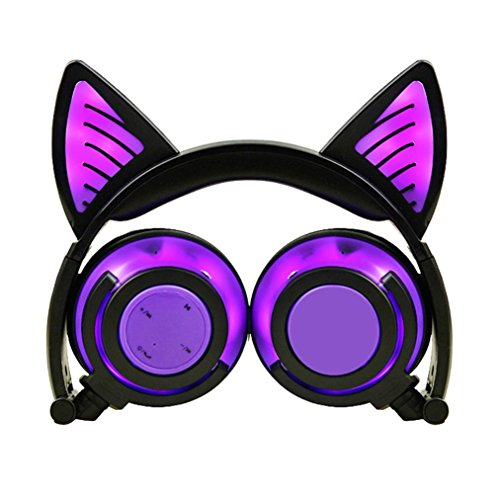 Boofab Cat Ear Headphones, Kids Headphones Wireless Bluetooth Foldable On Ear Headsets with LED Glowing Light 3.5mm Audio Jack Headset for Kids Earphone