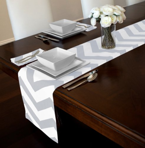 Grey And White Chevron Table Runner And Napkin Set   Set Includes 12u0026quot;  X 90u0026quot