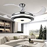 Remote-Controlled 3-Tone Tan Chandeliers, 42-inch Modern Polished Chrome Retractable Ceiling Fan (110V)