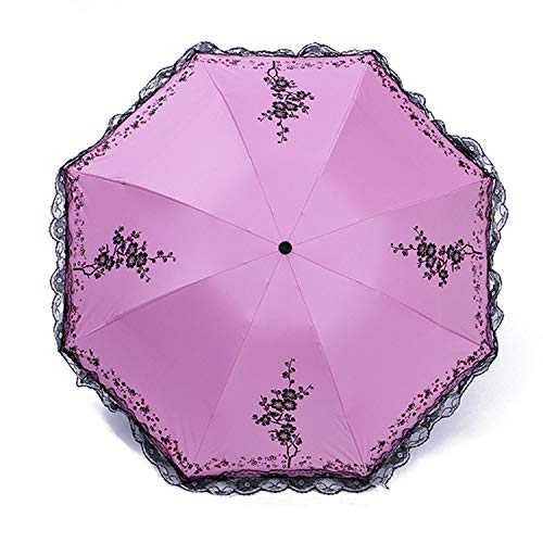 6 Colors Plum Flower Blossom Parasol Lace Three Folding Umbrella Uv Sunny/Rain Parasol Lace Sun Umbrella Rain Women,Pink (Sunny Rainbow Nylon Umbrella Parasols)
