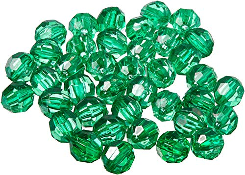 Faceted Green - DARICE 06101-5-T12 Bead Faceted Christmas, Green