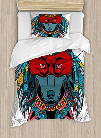 Tribal Duvet Cover Set by Ambesonne, Indian Warrior Wolf Portrait with Mask Feathers Native American Animal Art, 2 Piece Bedding Set with Pillow Sham, Twin / Twin XL, Teal White and - Native American Art Masks