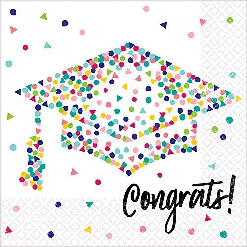 Amscan Graduation Party Yay Grad Luncheon Napkins Congrats, Multicolor, 36 count -