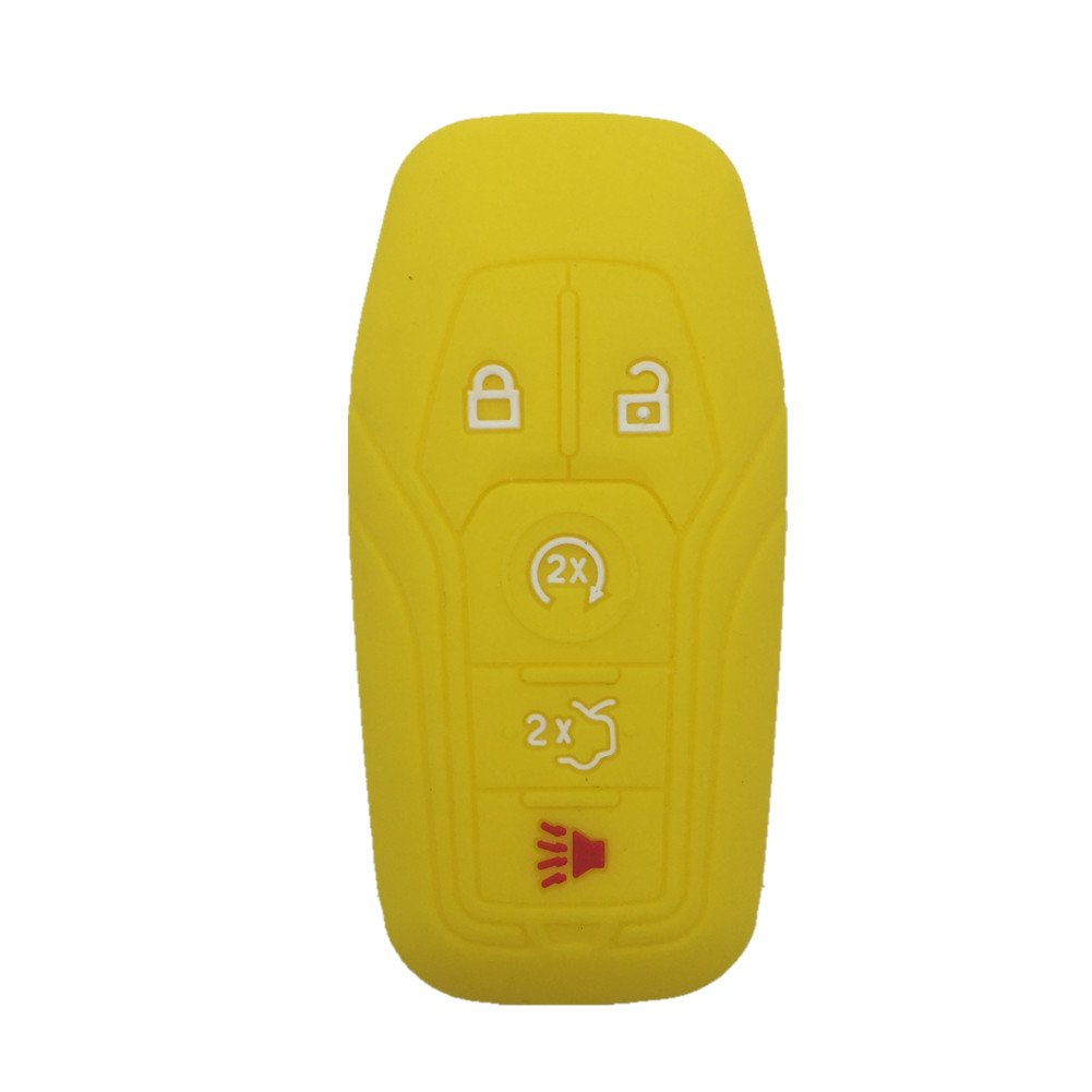 Ezzy Auto Sky Blue Silicone Rubber Keyless Entry Remote Key Fob Case Skin Cover Protector fit for Ford Fusion Mustang Lincoln MKZ MKC