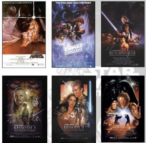 Star Wars Deluxe Set of 6 Movie Posters From ALL the Star Wa