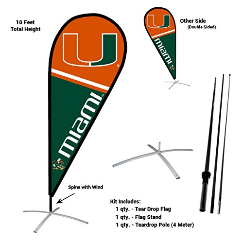 Miami Hurricanes Teardrop and Feather Flag Kit by College Flags and Banners Co.