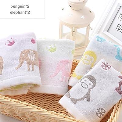 ZLR Toalla para niños Toalla de cara de lavado de algodón sólido de dibujos animados Toalla de cara de bebé absorbente de agua suave Toalla pequeña (Toallas ...